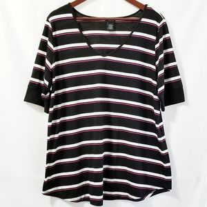 Torrid | Black White Pink Striped V-neck Tshirt